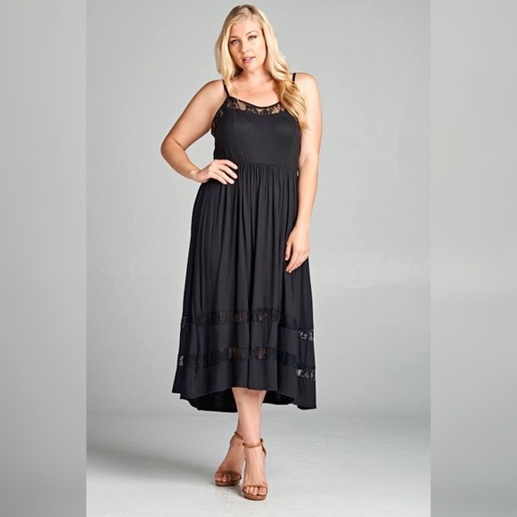 Plus Size Black Tank Midi Dress with Lace Details Boutique